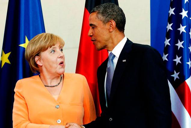 Обама вГермании сказал, что желает хороших отношений сМосквой