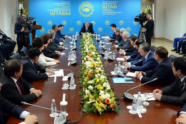 Нурсултан Назарбаев посетил предвыборный штаб