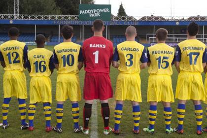 Футболисты «Фарнборо» изменили имена на Пеле, Марадону и Зидана