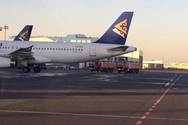 Ваэропорту Астаны произошло задымление двигателя самолета